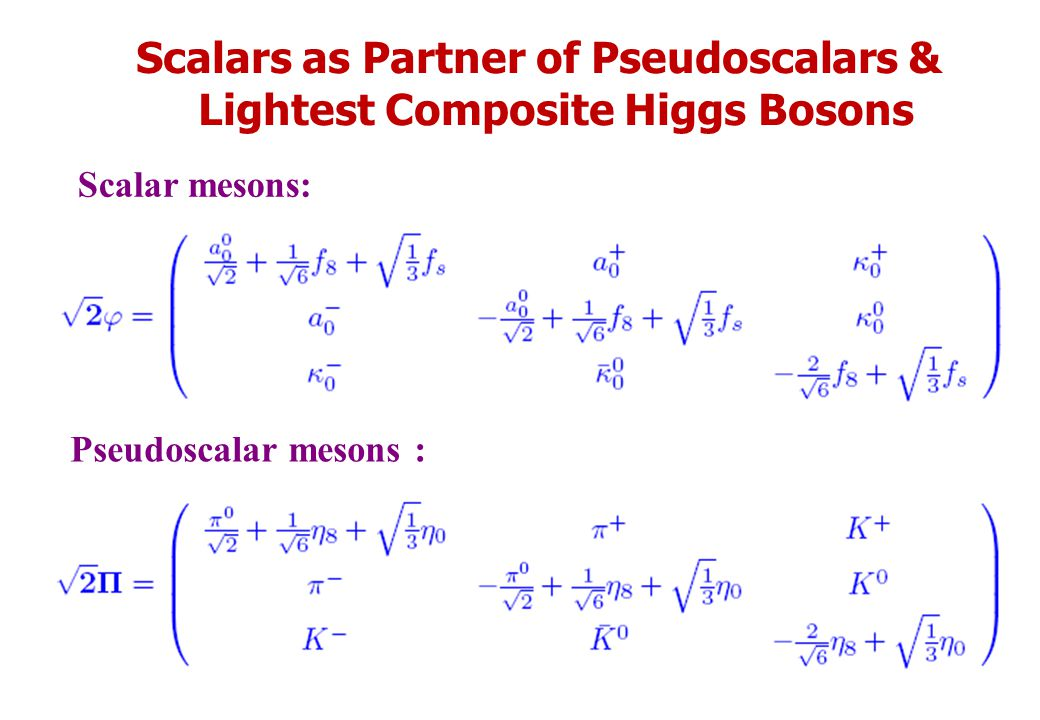 Scalars as Partner of Pseudoscalars & Lightest Composite Higgs Bosons Scalar mesons: Pseudoscalar mesons :