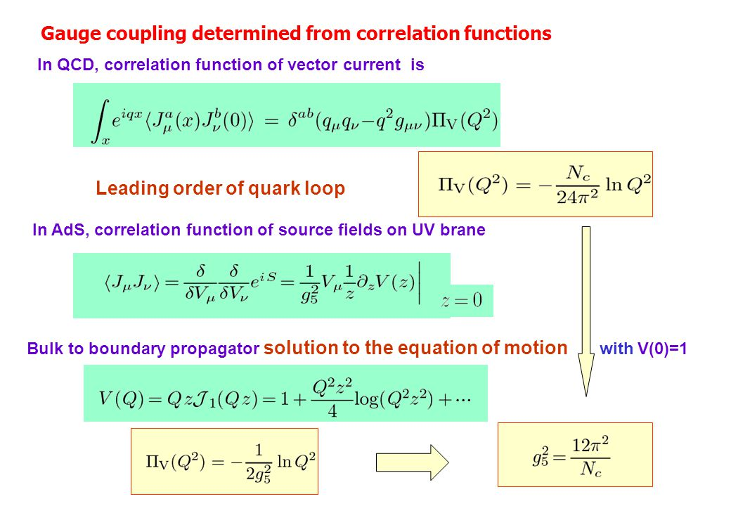Gauge coupling determined from correlation functions In QCD, correlation function of vector current is Leading order of quark loop In AdS, correlation function of source fields on UV brane Bulk to boundary propagator solution to the equation of motion with V(0)=1