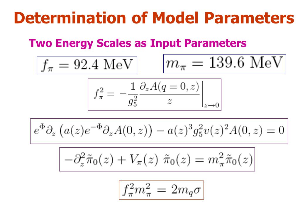 Determination of Model Parameters Two Energy Scales as Input Parameters