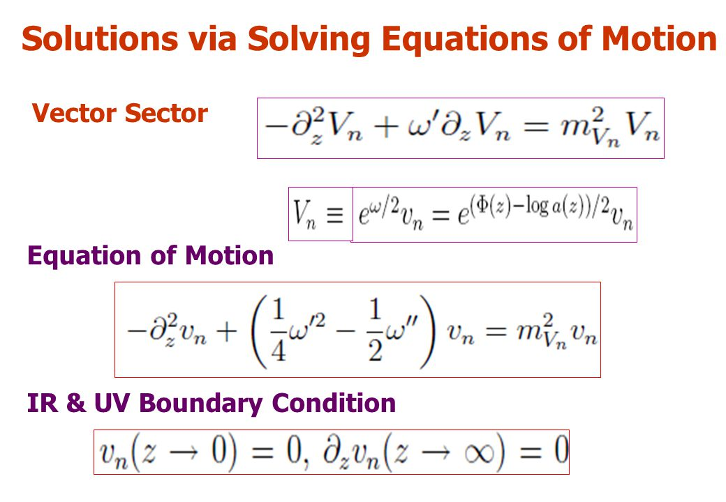 Solutions via Solving Equations of Motion Vector Sector Equation of Motion IR & UV Boundary Condition