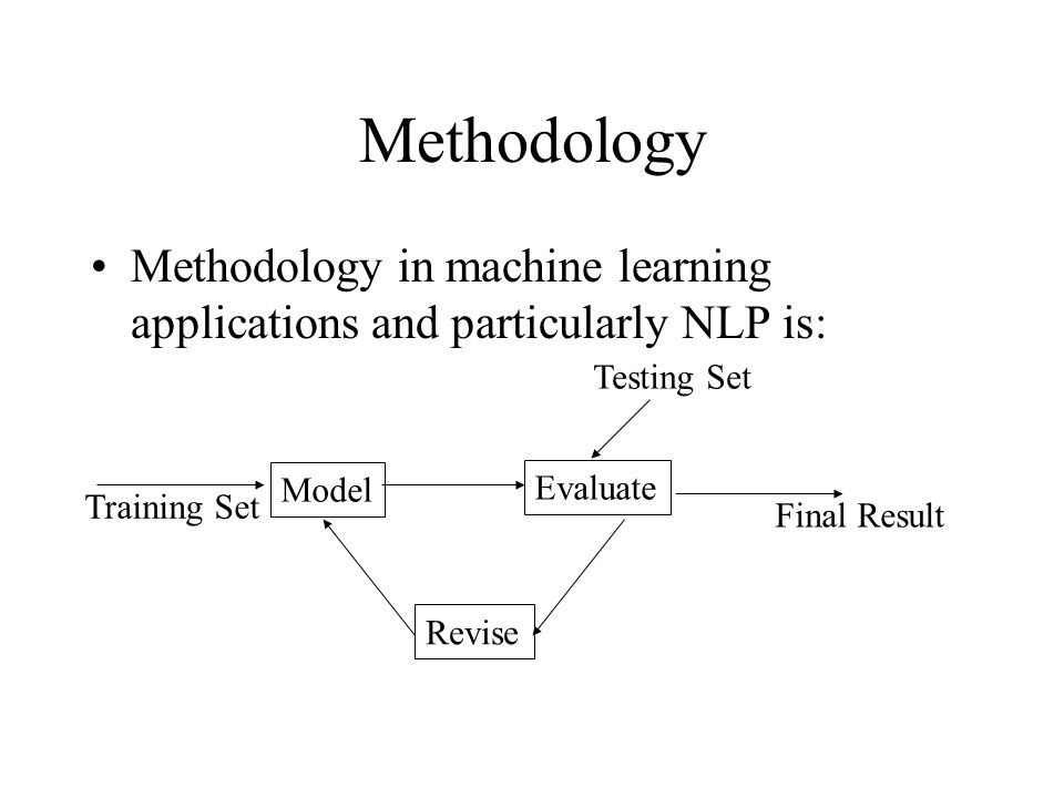 Methodology Methodology in machine learning applications and particularly NLP is: Evaluate Model Revise Training Set Final Result Testing Set