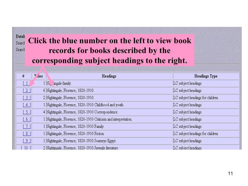 11 Click the blue number on the left to view book records for books described by the corresponding subject headings to the right.