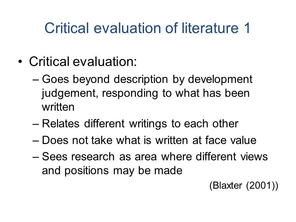 Evaluation of literature