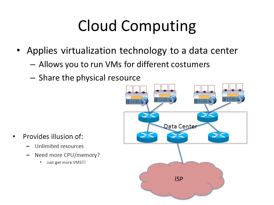 Cloud Computing Applies virtualization technology to a data center – Allows you to run VMs for different costumers – Share the physical resource ISP Cloud Data Center Provides illusion of: – Unlimited resources – Need more CPU/memory.