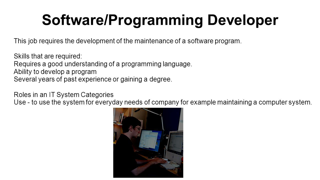 Software/Programming Developer This job requires the development of the maintenance of a software program.