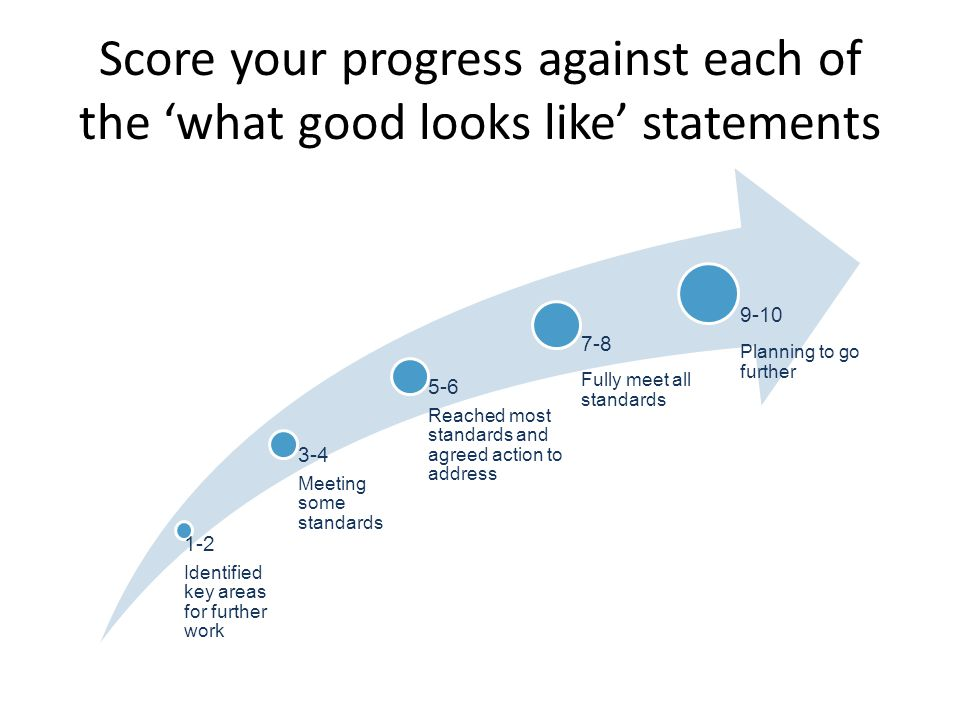 Score your progress against each of the 'what good looks like' statements 1-2 Identified key areas for further work 3-4 Meeting some standards 5-6 Reached most standards and agreed action to address 7-8 Fully meet all standards 9-10 Planning to go further