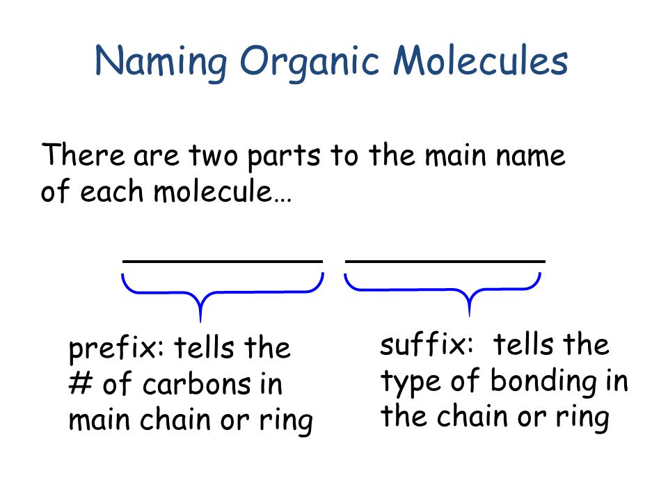 Naming Organic Molecules There are two parts to the main name of each molecule… prefix: tells the # of carbons in main chain or ring suffix: tells the type of bonding in the chain or ring