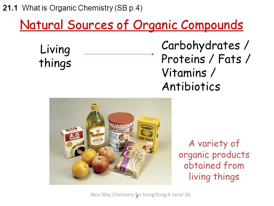 New Way Chemistry for Hong Kong A-Level 3A 3 Living things Carbohydrates / Proteins / Fats / Vitamins / Antibiotics 21.1 What is Organic Chemistry (SB p.4) Natural Sources of Organic Compounds A variety of organic products obtained from living things