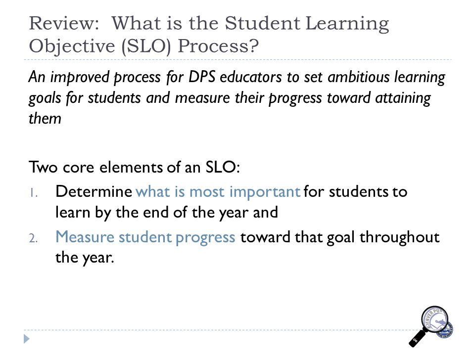 Review: What is the Student Learning Objective (SLO) Process.
