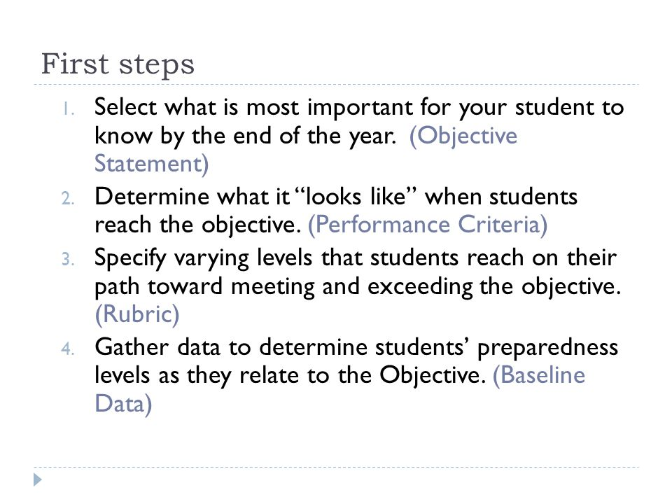 First steps 1. Select what is most important for your student to know by the end of the year.