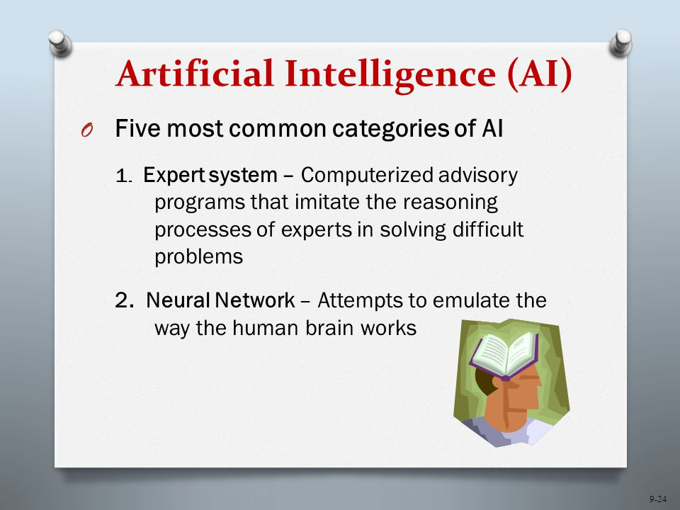 9-24 Artificial Intelligence (AI) O Five most common categories of AI 1.