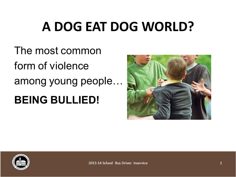 A DOG EAT DOG WORLD. The most common form of violence among young people… BEING BULLIED.