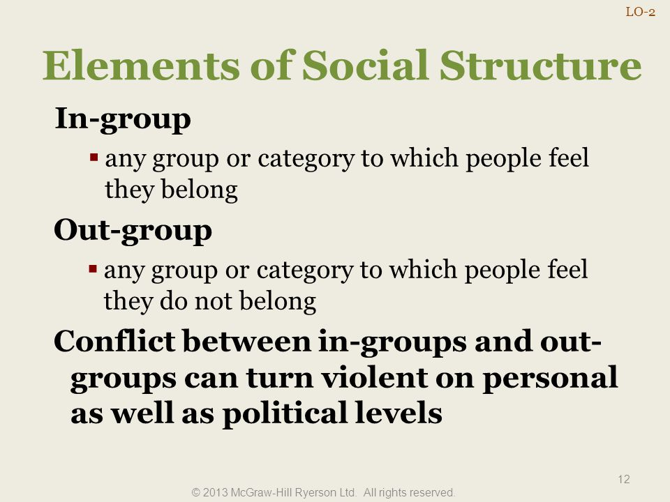 Elements of Social Structure 12 In-group  any group or category to which people feel they belong Out-group  any group or category to which people fe