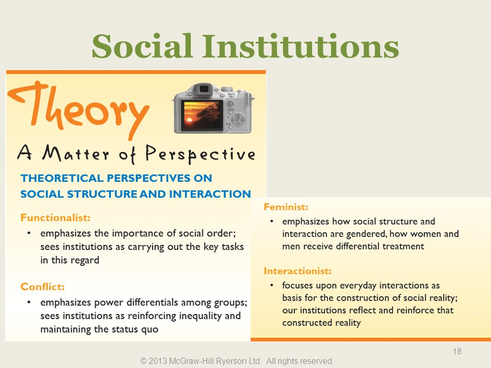 Social Institutions 18 © 2013 McGraw-Hill Ryerson Ltd. All rights reserved.