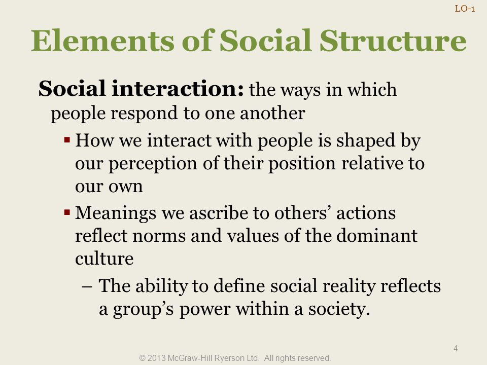 Elements of Social Structure 4 Social interaction: the ways in which people respond to one another  How we interact with people is shaped by our perc