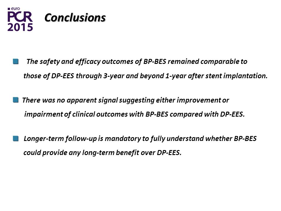Conclusions The safety and efficacy outcomes of BP-BES remained comparable to those of DP-EES through 3-year and beyond 1-year after stent implantation.