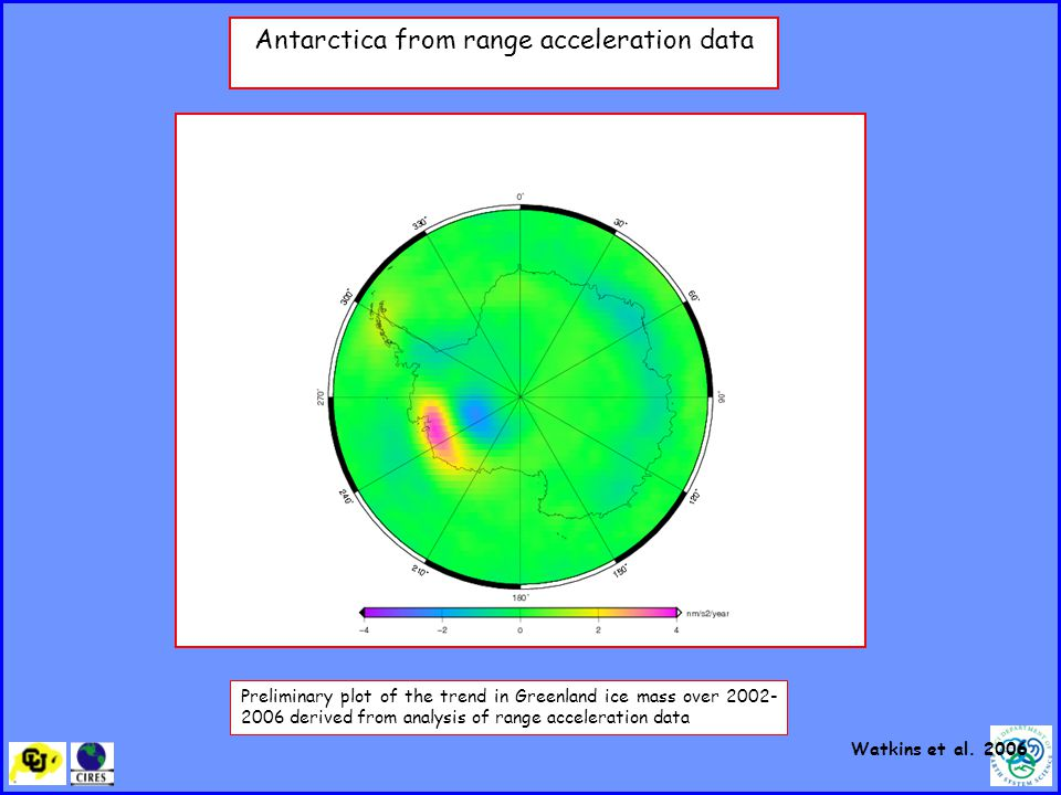 Antarctica from range acceleration data Preliminary plot of the trend in Greenland ice mass over derived from analysis of range acceleration data Watkins et al.