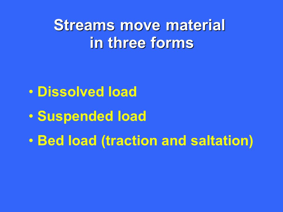 Streams move material in three forms Dissolved load Suspended load Bed load (traction and saltation)