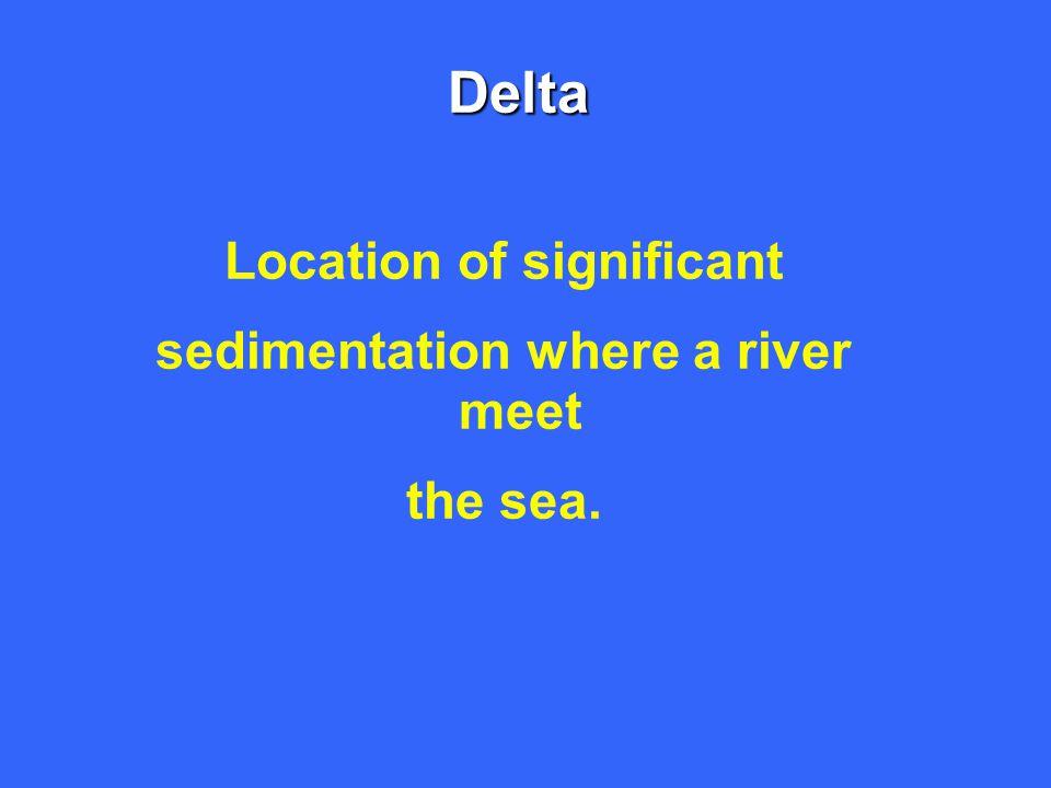 Delta Location of significant sedimentation where a river meet the sea.