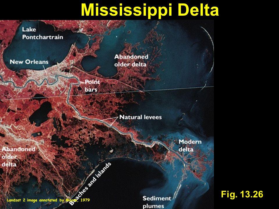 Fig. 13.26 Mississippi Delta Landsat 2 image annotated by Moore, 1979