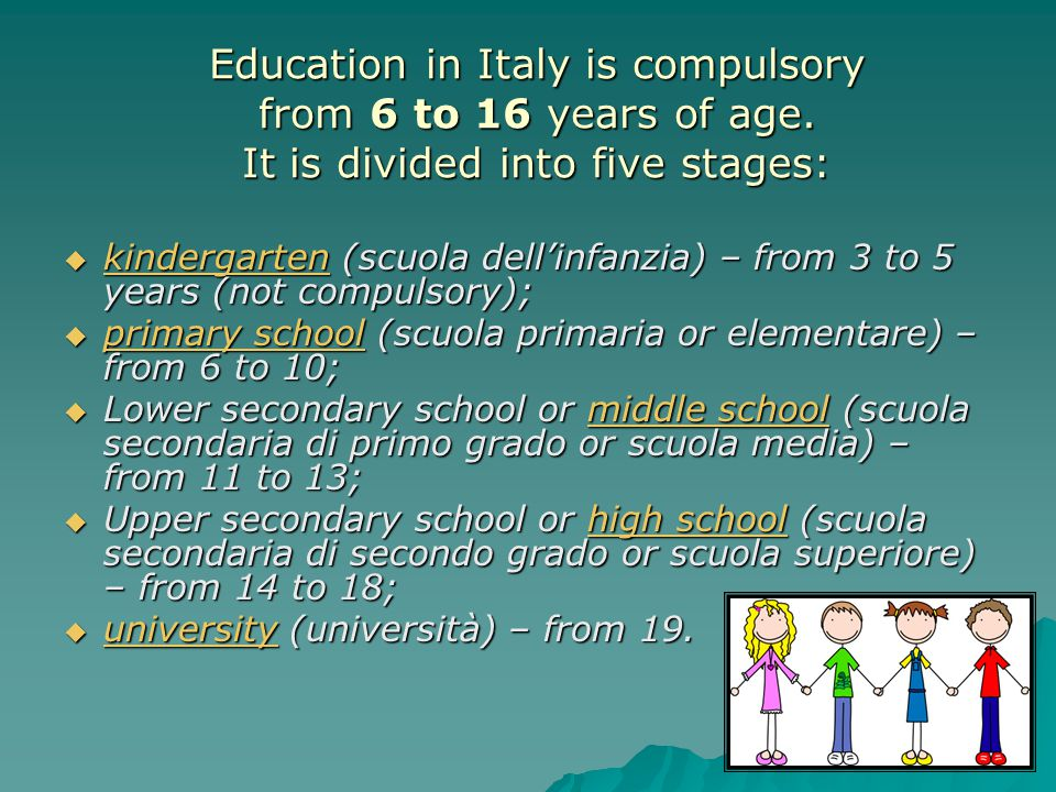 Education in Italy is compulsory from 6 to 16 years of age.