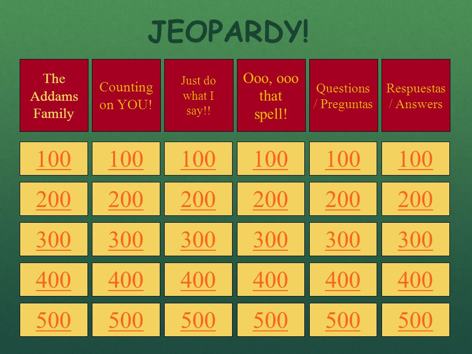 en español! jeopardy spanish 1, preliminary chapter. - ppt download, Powerpoint templates