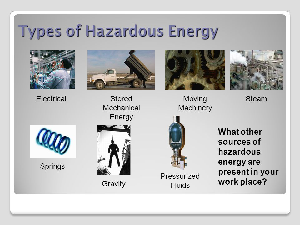 Types of Hazardous Energy Electrical Stored Mechanical Energy Moving Machinery Steam Springs Gravity What other sources of hazardous energy are present in your work place.