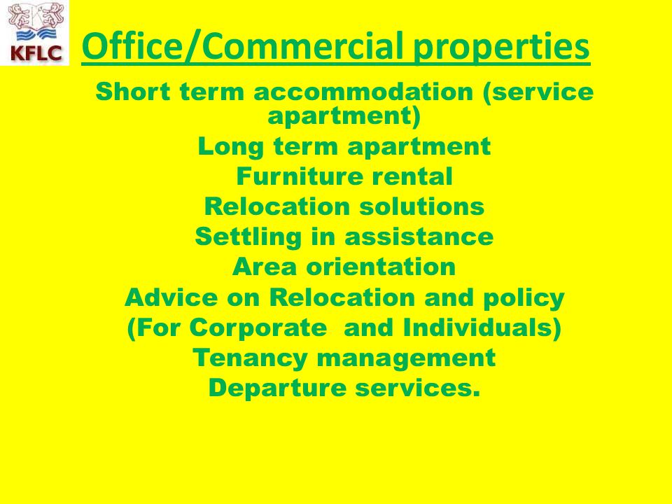 1 Office/Commercial Properties Short Term Accommodation (service Apartment)  Long Term Apartment Furniture Rental ...