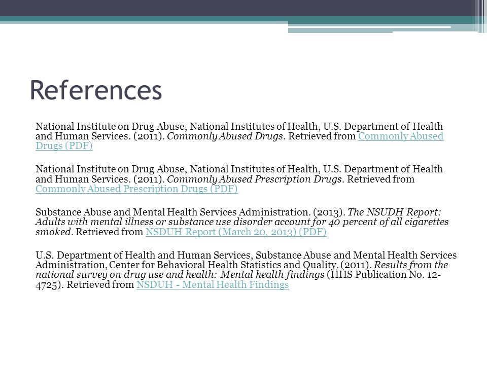 References National Institute on Drug Abuse, National Institutes of Health, U.S.