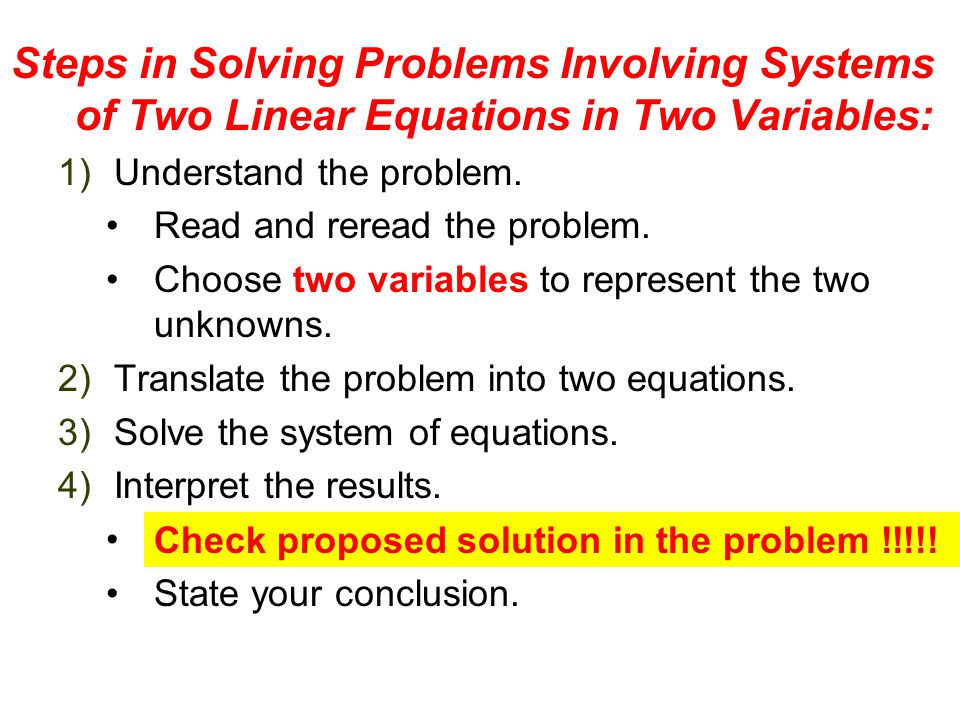 Steps in Solving Problems Involving Systems of Two Linear Equations in Two Variables: 1)Understand the problem.