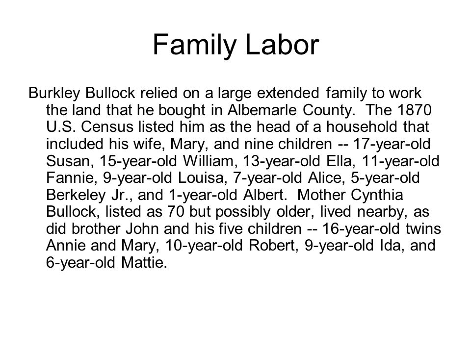 Family Labor Burkley Bullock relied on a large extended family to work the land that he bought in Albemarle County.