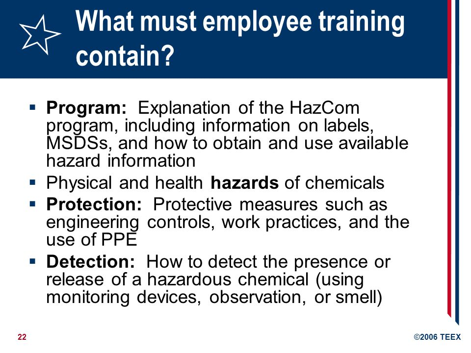 22©2006 TEEX What must employee training contain.