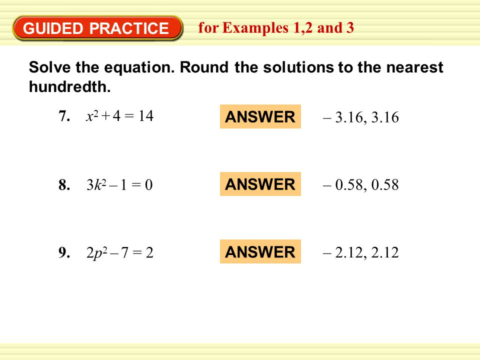 EXAMPLE 1 Solve quadratic equations Solve the equation.