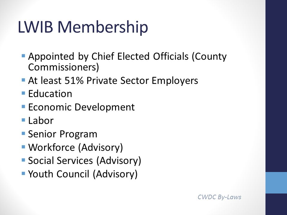 LWIB Membership  Appointed by Chief Elected Officials (County Commissioners)  At least 51% Private Sector Employers  Education  Economic Development  Labor  Senior Program  Workforce (Advisory)  Social Services (Advisory)  Youth Council (Advisory) CWDC By-Laws