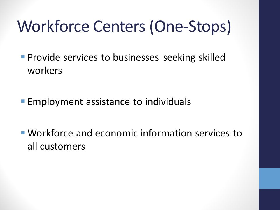 Workforce Centers (One-Stops)  Provide services to businesses seeking skilled workers  Employment assistance to individuals  Workforce and economic information services to all customers