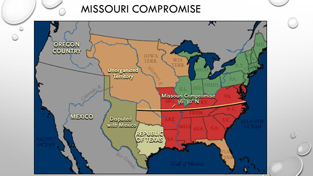missouri compromise An act to authorize the people of the missouri territory to form a constitution and state government, and for the admission of such state into the union on an equal footing with the original states, and to prohibit slavery in certain territories.