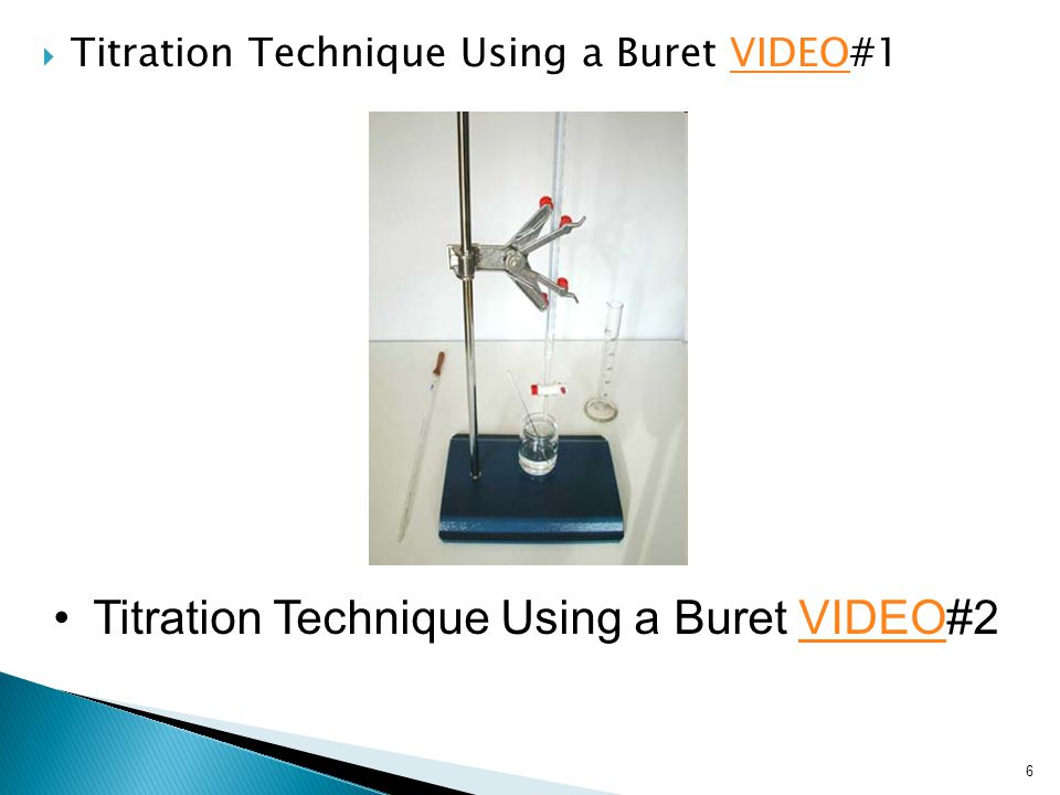  Titration Technique Using a Buret VIDEO#1VIDEO 6 Titration Technique Using a Buret VIDEO#2VIDEO