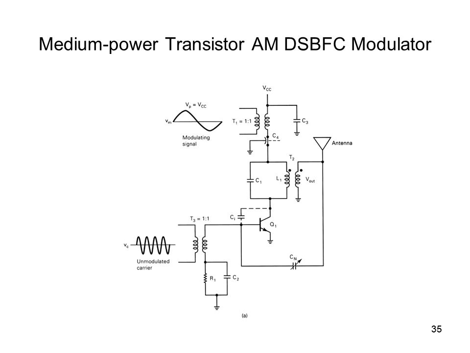 35 Medium-power Transistor AM DSBFC Modulator 35