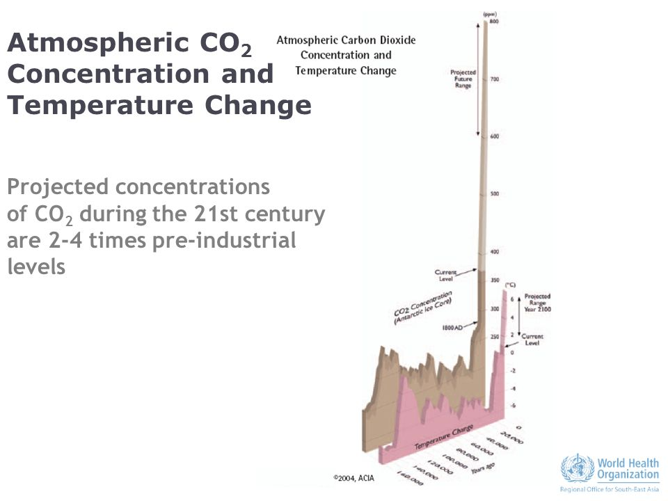 Atmospheric CO 2 Concentration and Temperature Change Projected concentrations of CO 2 during the 21st century are 2-4 times pre-industrial levels