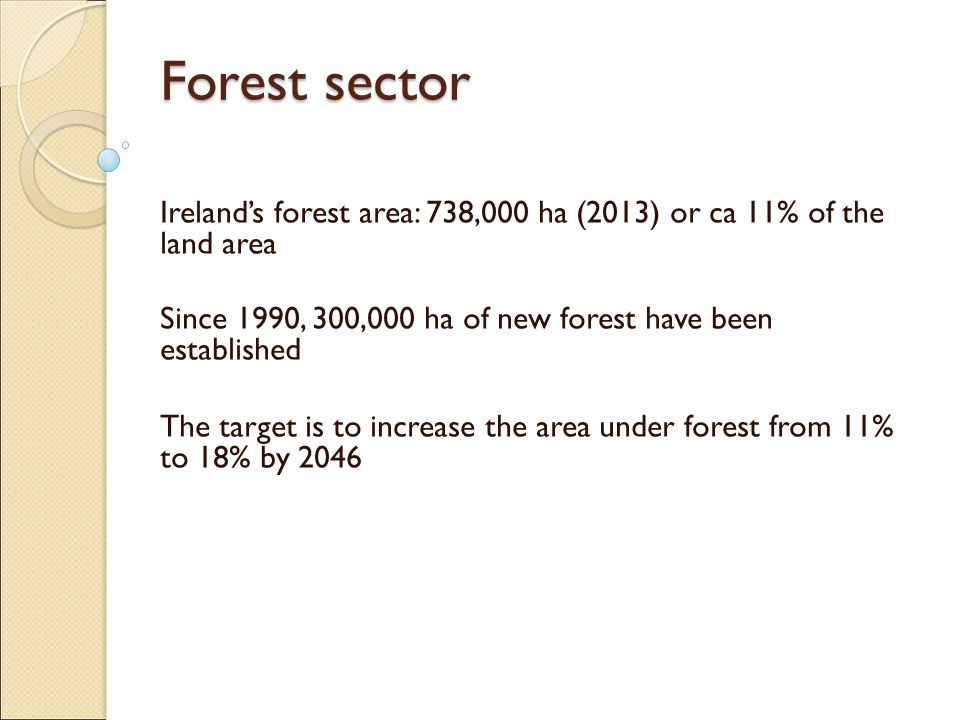 Forest sector Ireland's forest area: 738,000 ha (2013) or ca 11% of the land area Since 1990, 300,000 ha of new forest have been established The target is to increase the area under forest from 11% to 18% by 2046