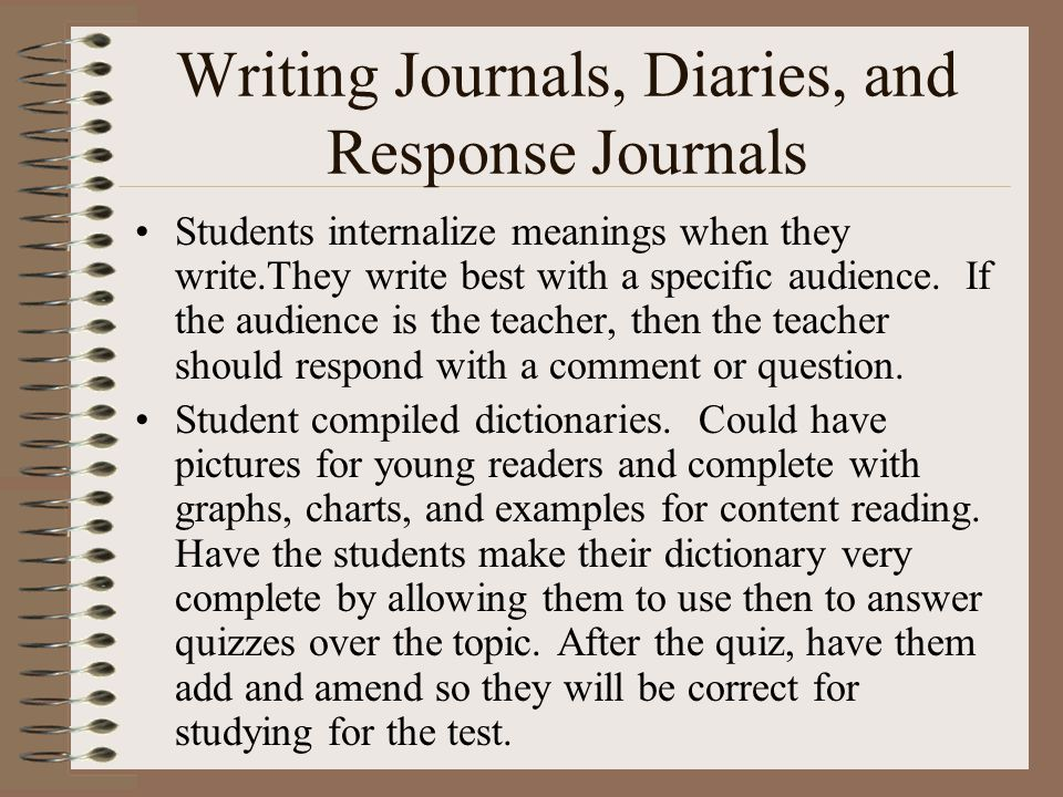 Writing Journals, Diaries, and Response Journals Students internalize meanings when they write.They write best with a specific audience.