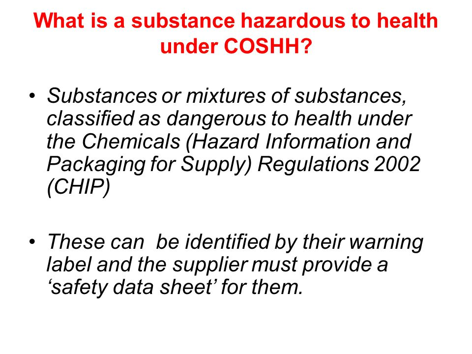 What is a substance hazardous to health under COSHH.