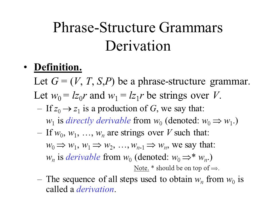 Amazing Phrase Structure Grammars Derivation Definition. Let G U003d (V, T, S