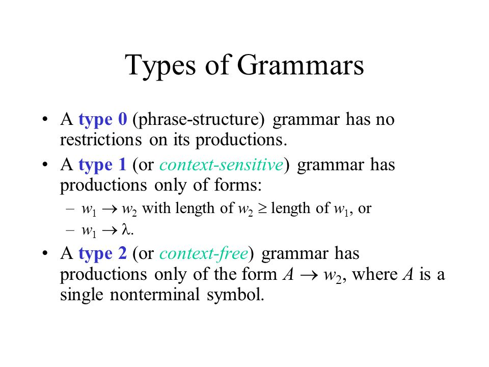 Types of Grammars A type 0 (phrase-structure) grammar has no restrictions on its productions.