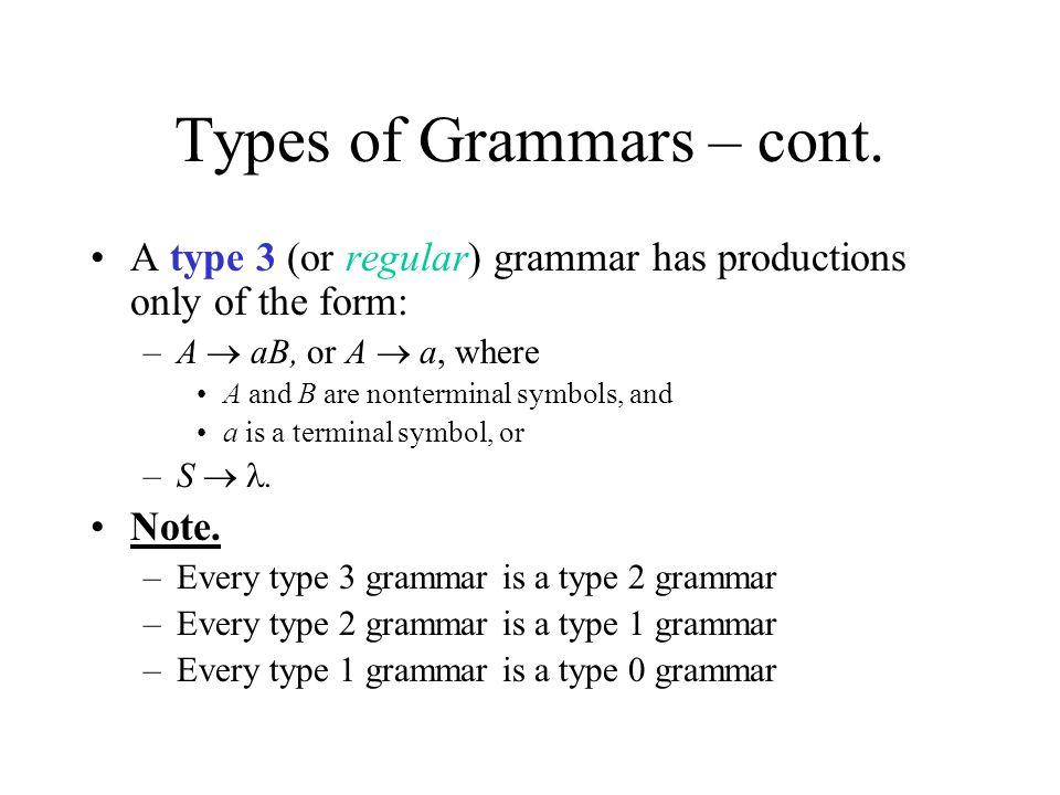 Types of Grammars – cont.