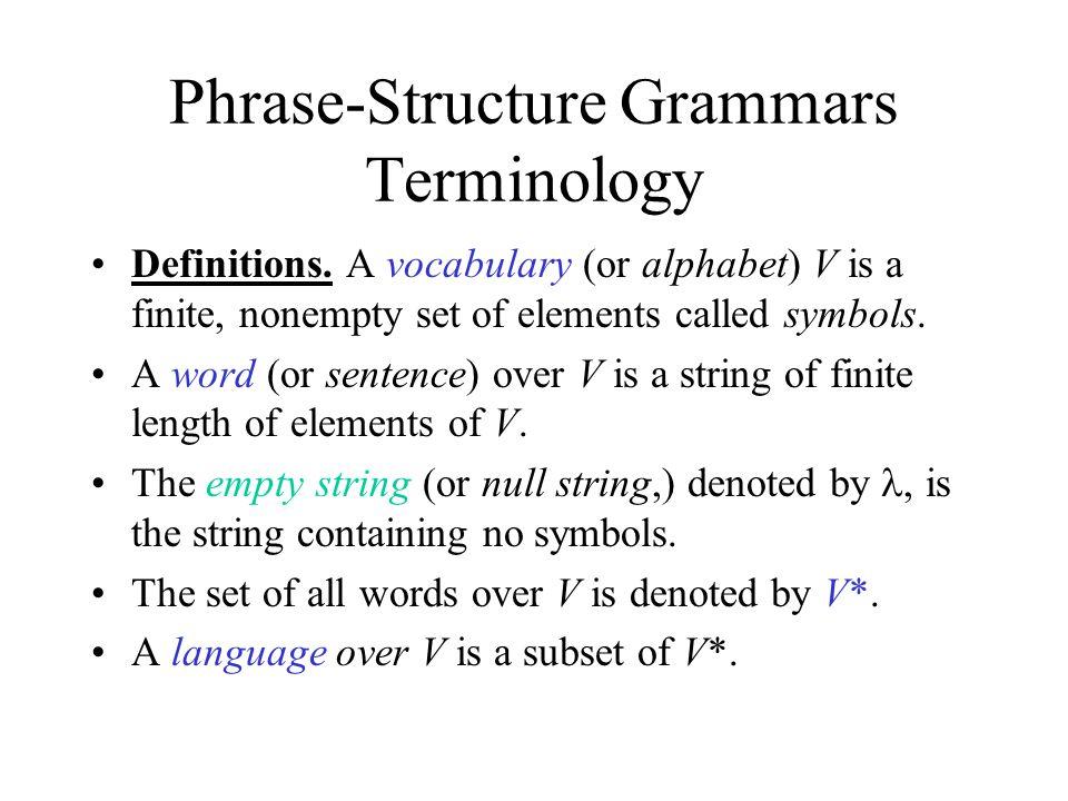 Phrase-Structure Grammars Terminology Definitions.