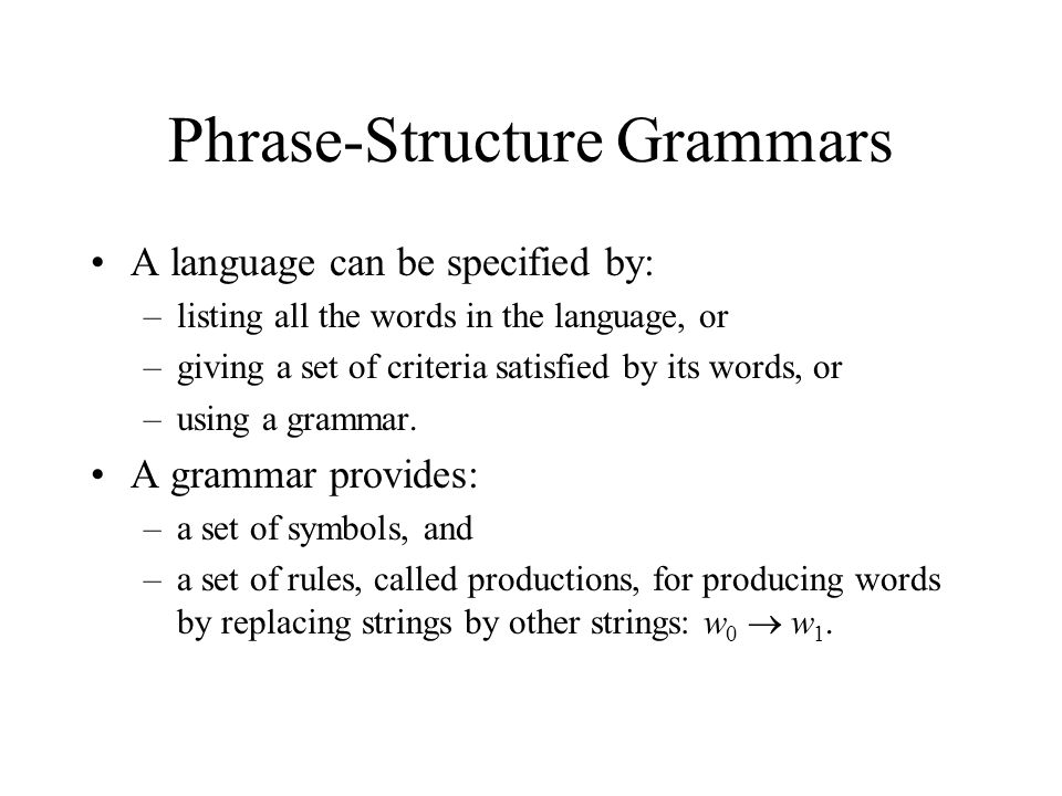 Phrase-Structure Grammars A language can be specified by: –listing all the words in the language, or –giving a set of criteria satisfied by its words, or –using a grammar.