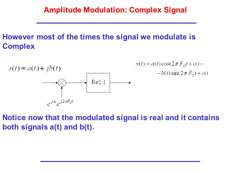 Amplitude Modulation: Complex Signal However most of the times the signal we modulate is Complex Notice now that the modulated signal is real and it contains both signals a(t) and b(t).
