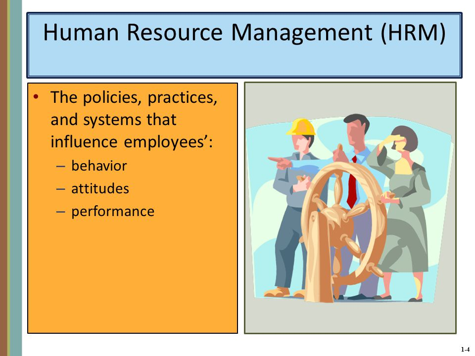 1-4 Human Resource Management (HRM) The policies, practices, and systems that influence employees': – behavior – attitudes – performance