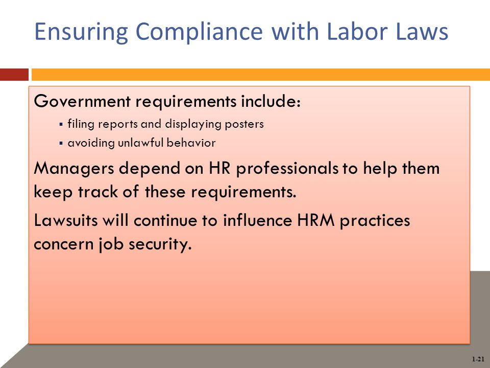 1-21 Ensuring Compliance with Labor Laws Government requirements include:  filing reports and displaying posters  avoiding unlawful behavior Managers depend on HR professionals to help them keep track of these requirements.
